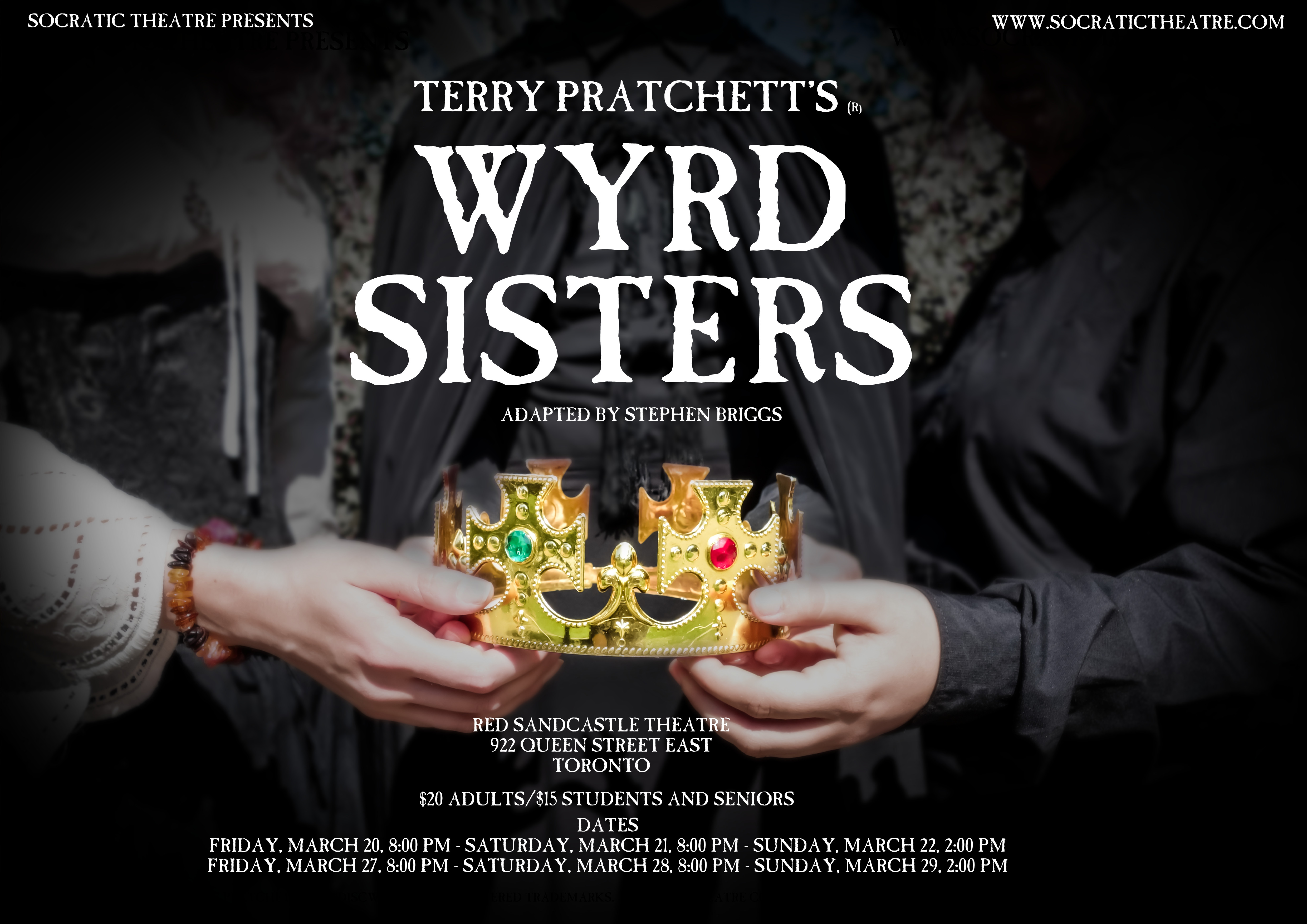 Wyrd Sisters poster NEW DATES NEW INFO CORNERS
